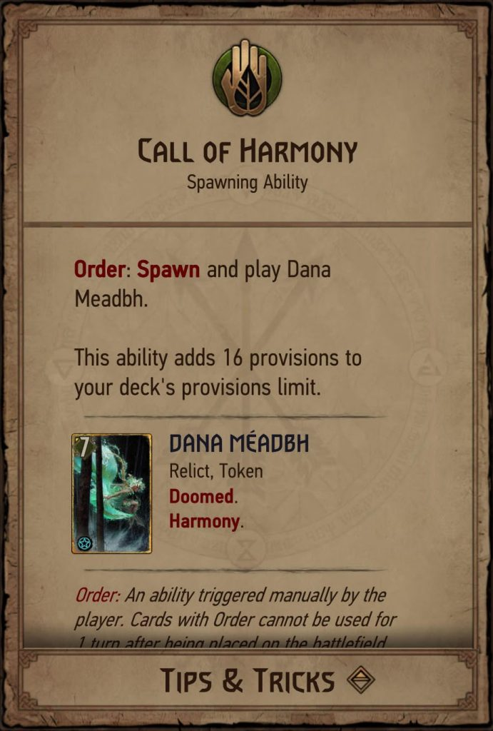 Call of Harmony Gwent Leader Ability